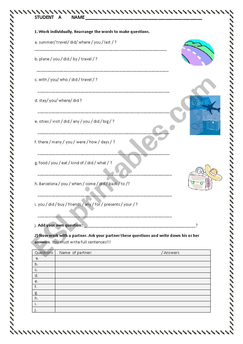 Interview about your holiday worksheet