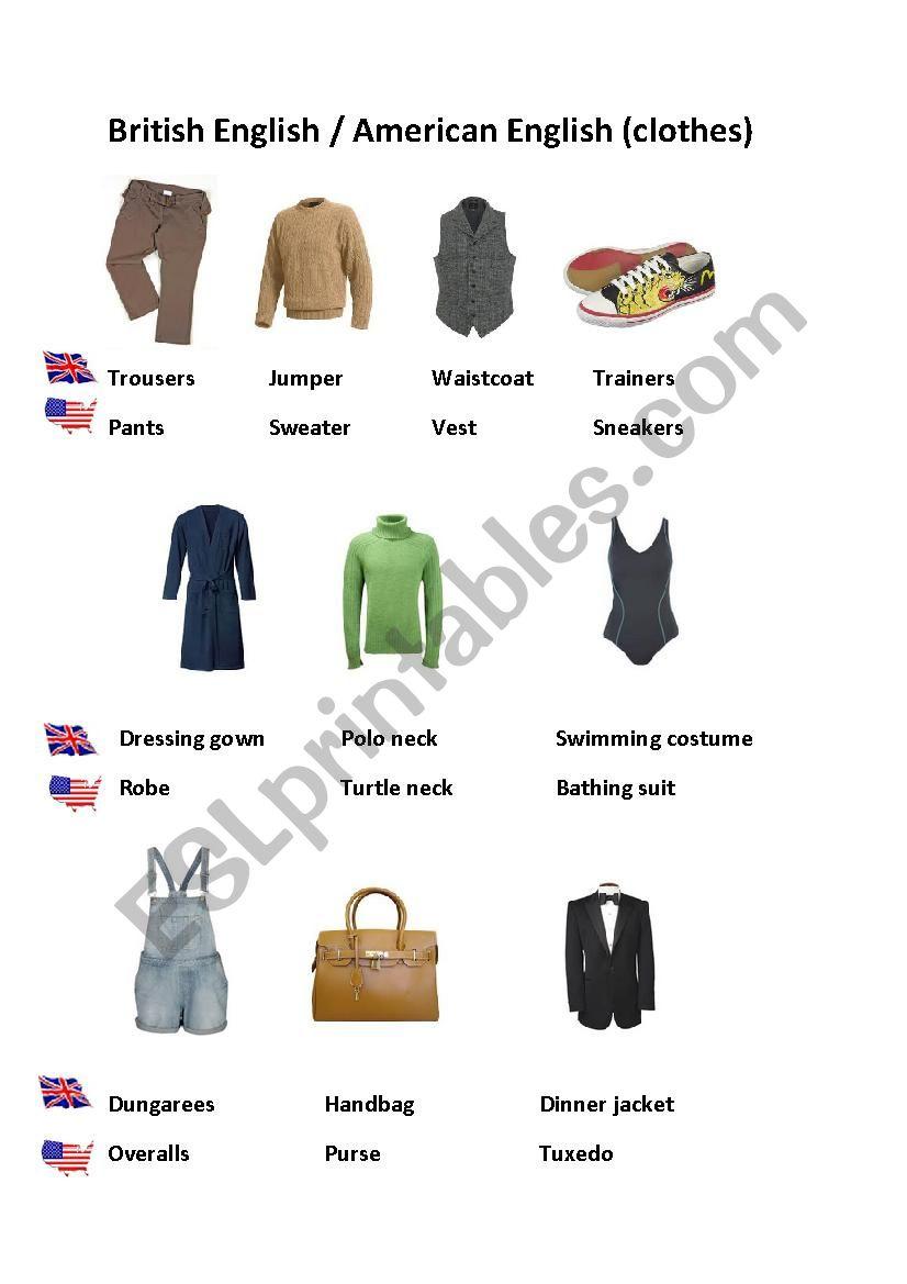 British vs American English (clothes)