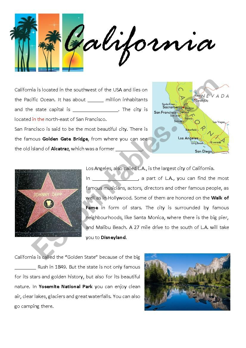 California - fact sheet worksheet