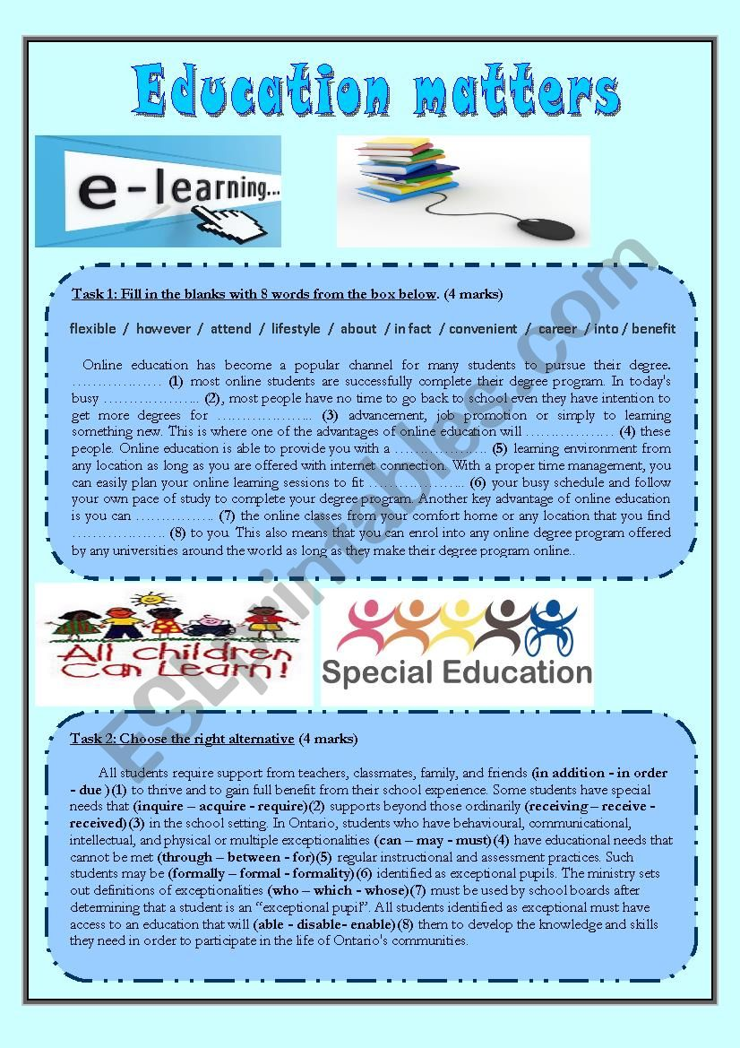 Education Matters worksheet