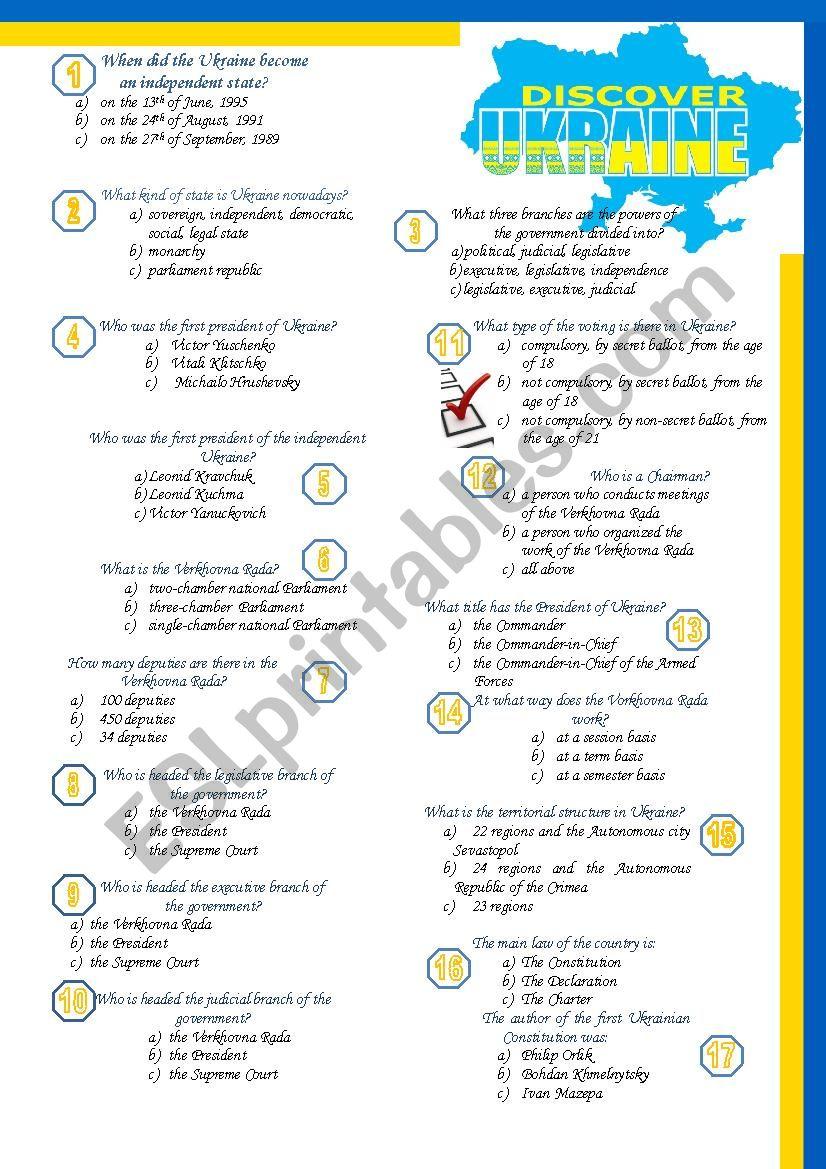quize_about_Ukraine worksheet