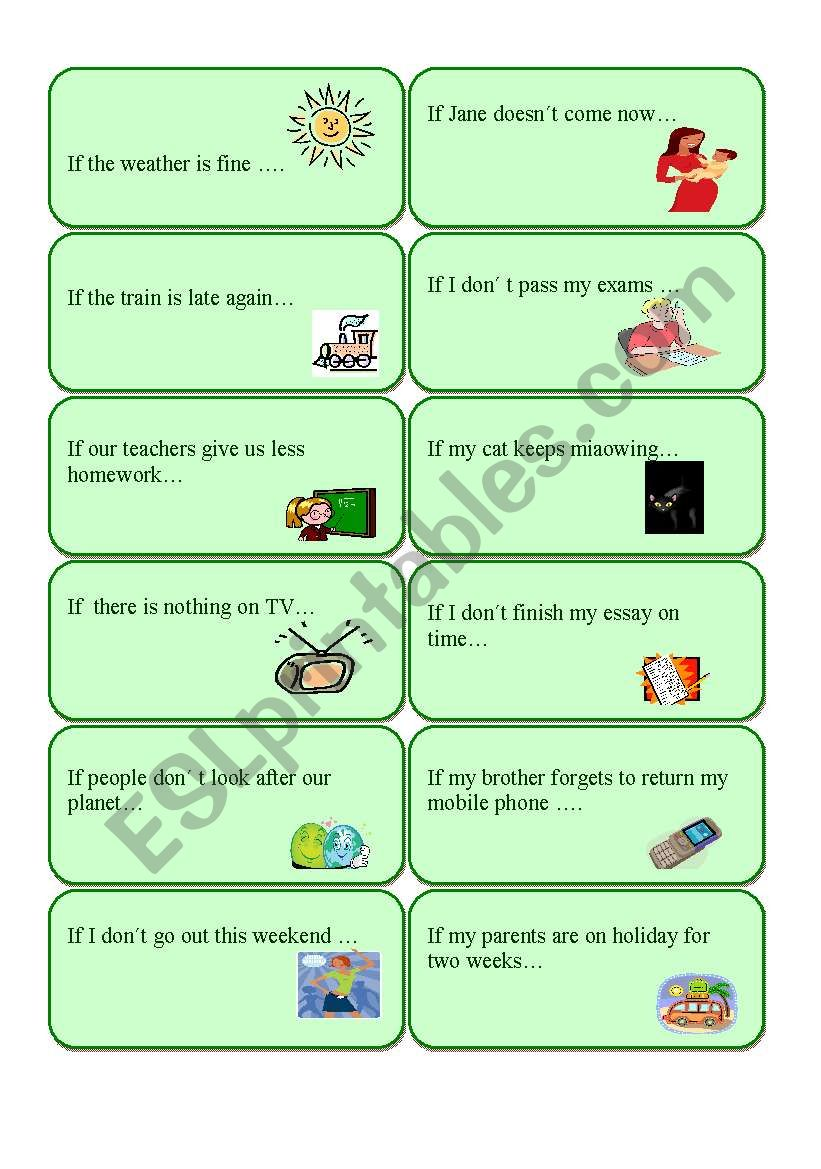 First conditional cards worksheet