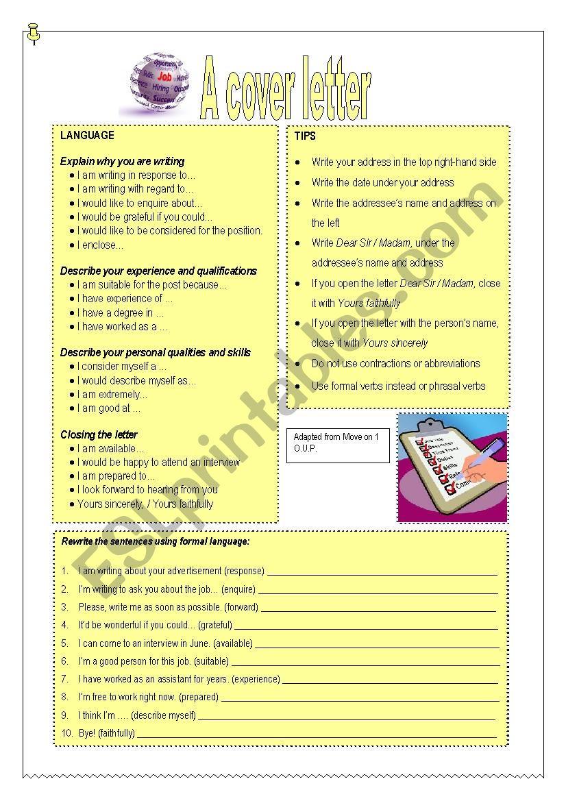 A cover letter worksheet