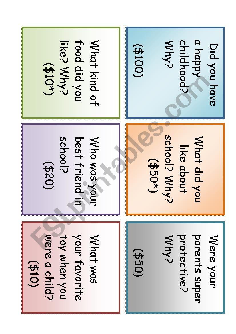 30 conversation cards. worksheet
