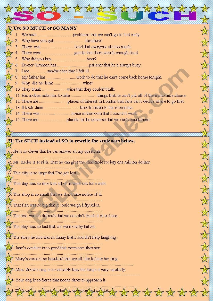 So - Such (part 3) worksheet