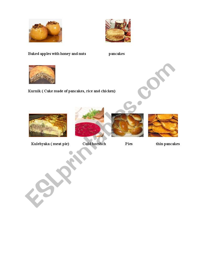 Russian dishes - page 2 worksheet