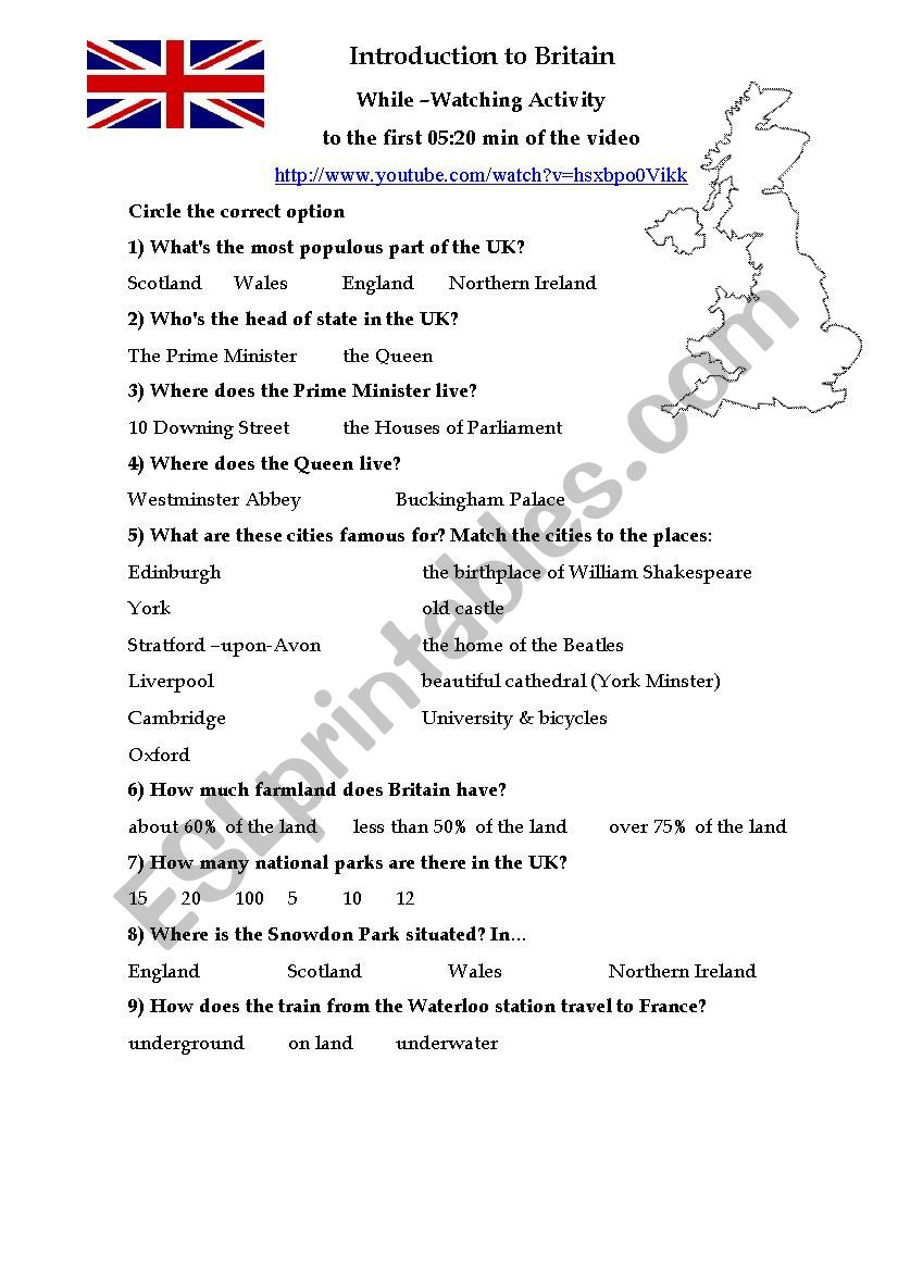 Introduction to Britain While-Watching Activity