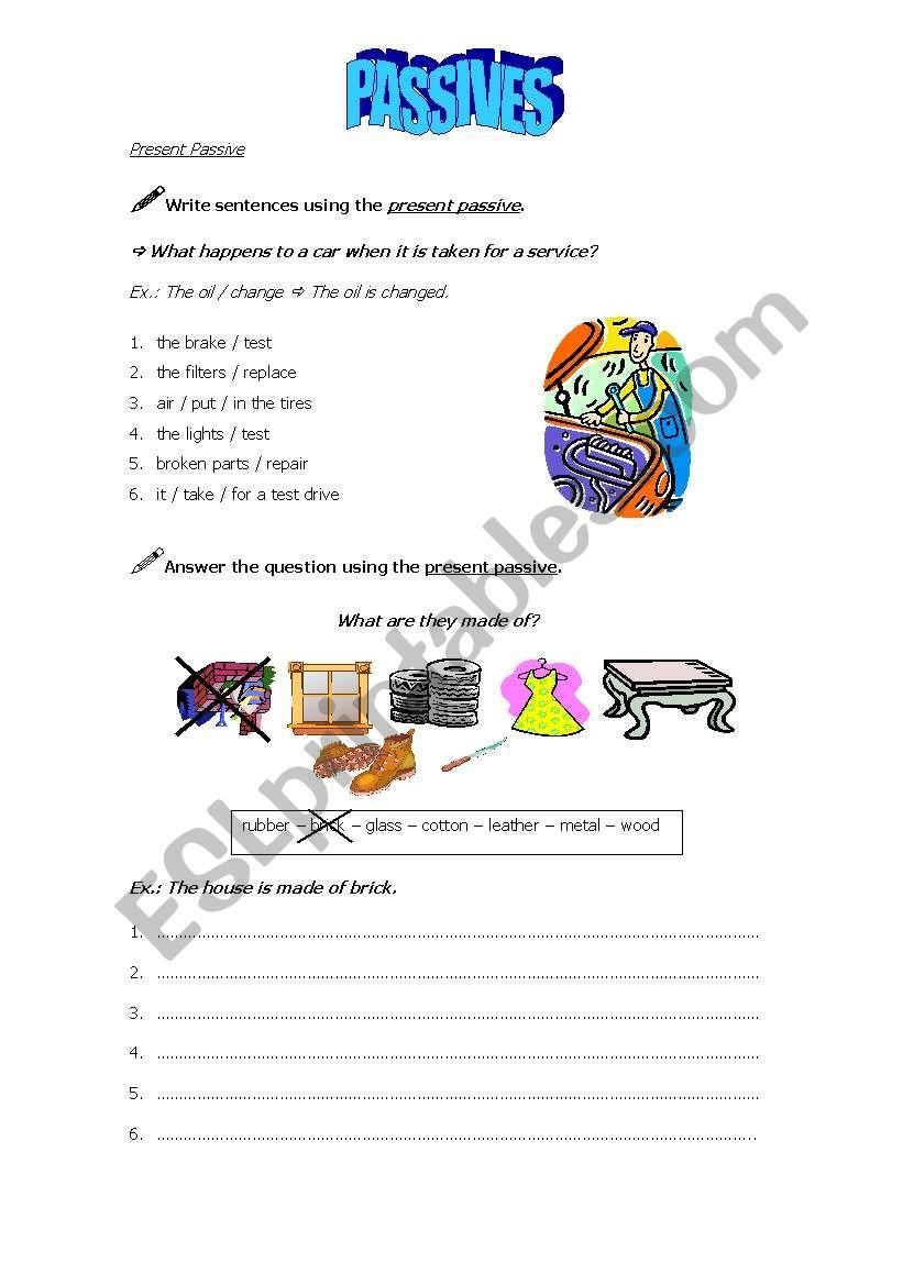 Passives - page 1 worksheet