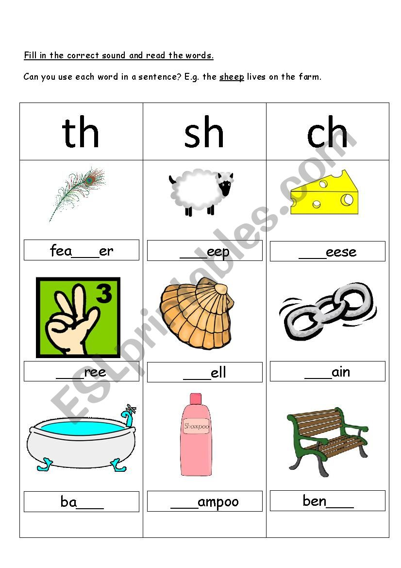 Ch Sh And Th Digraphs Esl Worksheet By Kebabsalad