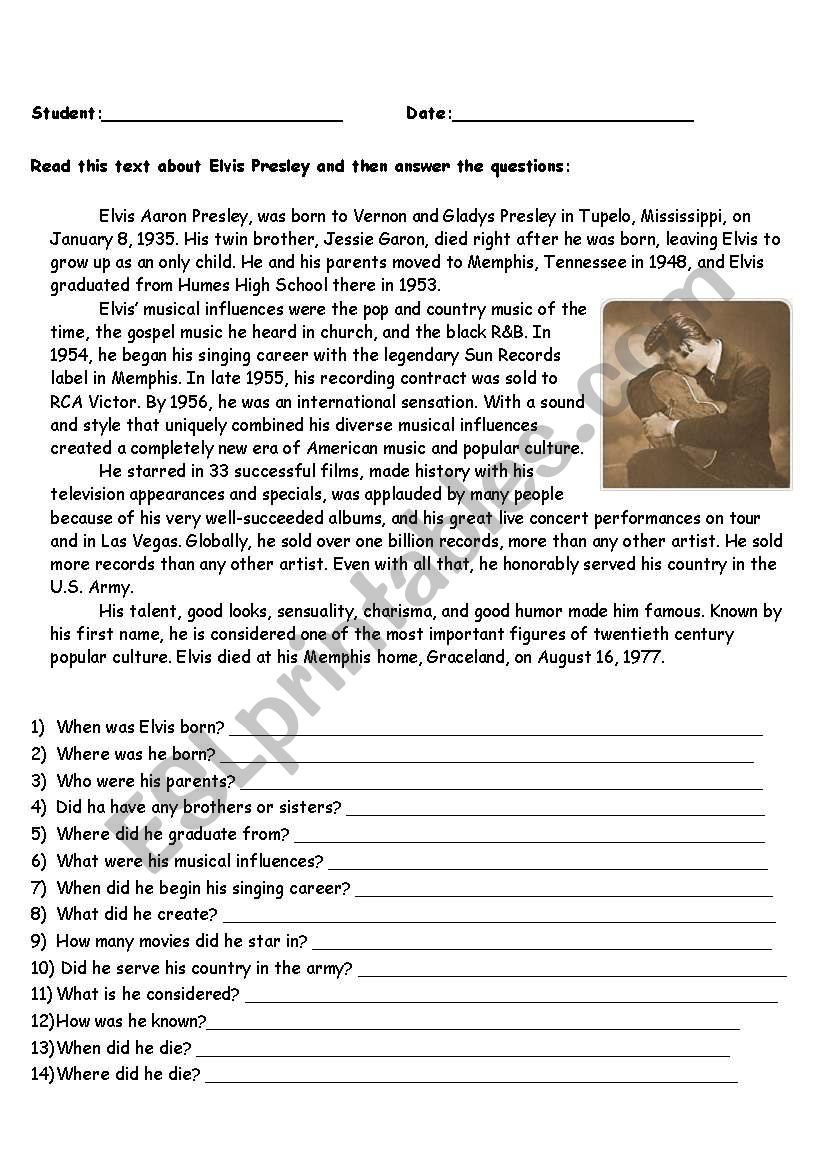Elvis´s Biography worksheet
