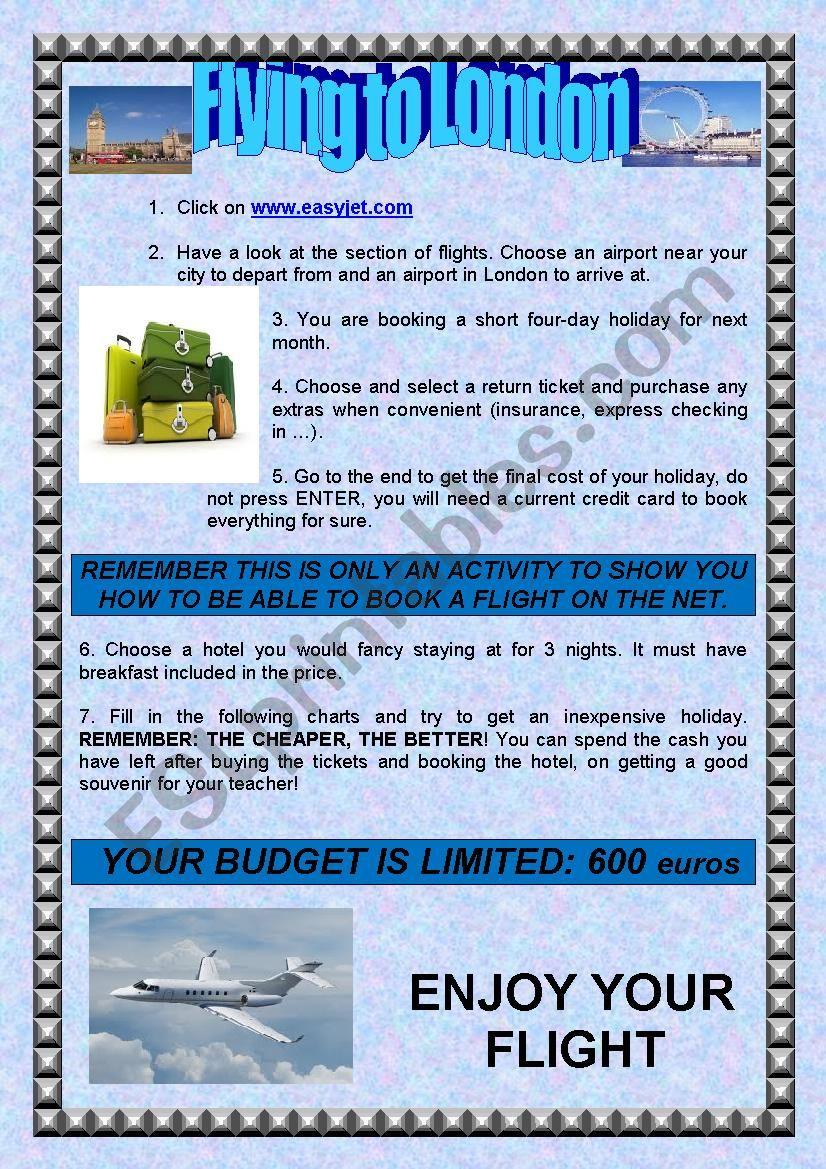 WEBQUEST: BOOKING A FLIGHT ON THE NET
