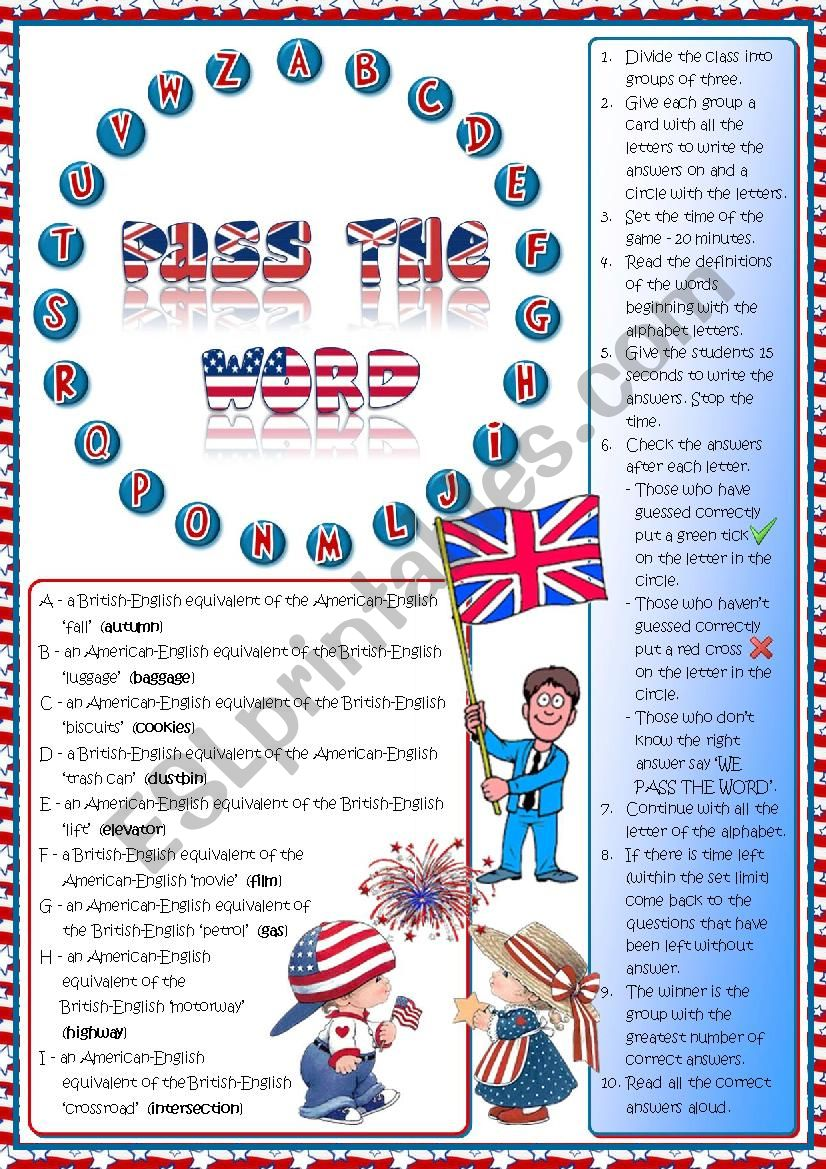 Pass the word - American vs British English quiz