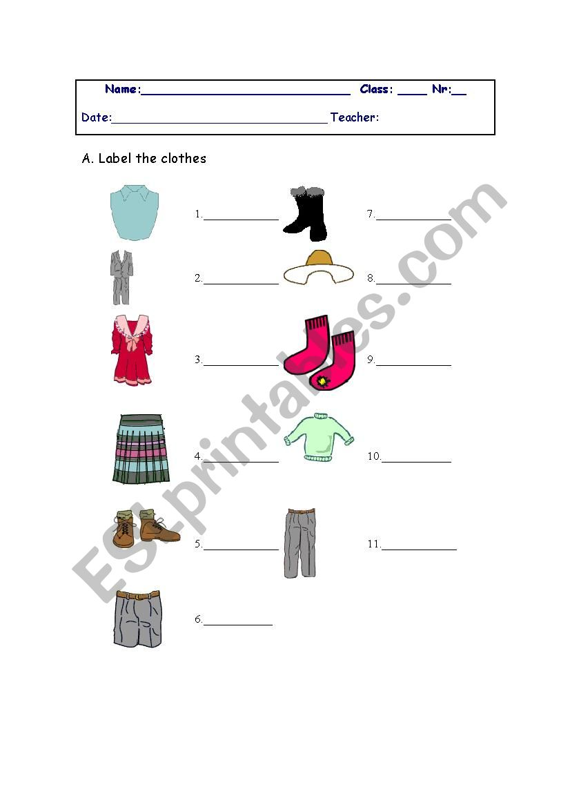 Label the clothes worksheet