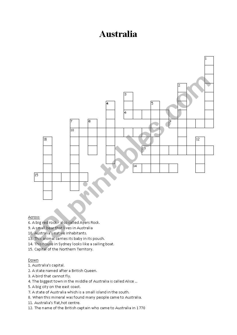 Australia crossword puzzle worksheet