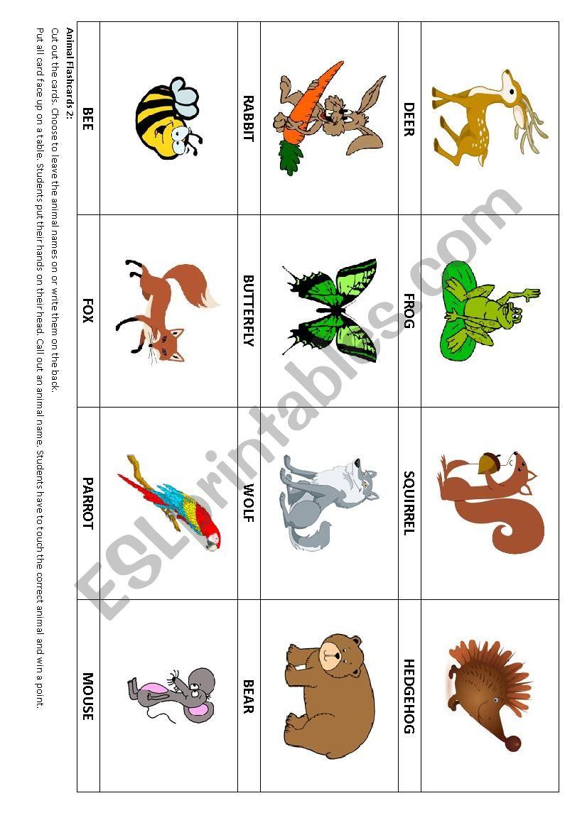 Animal flashcards 2 & Game worksheet