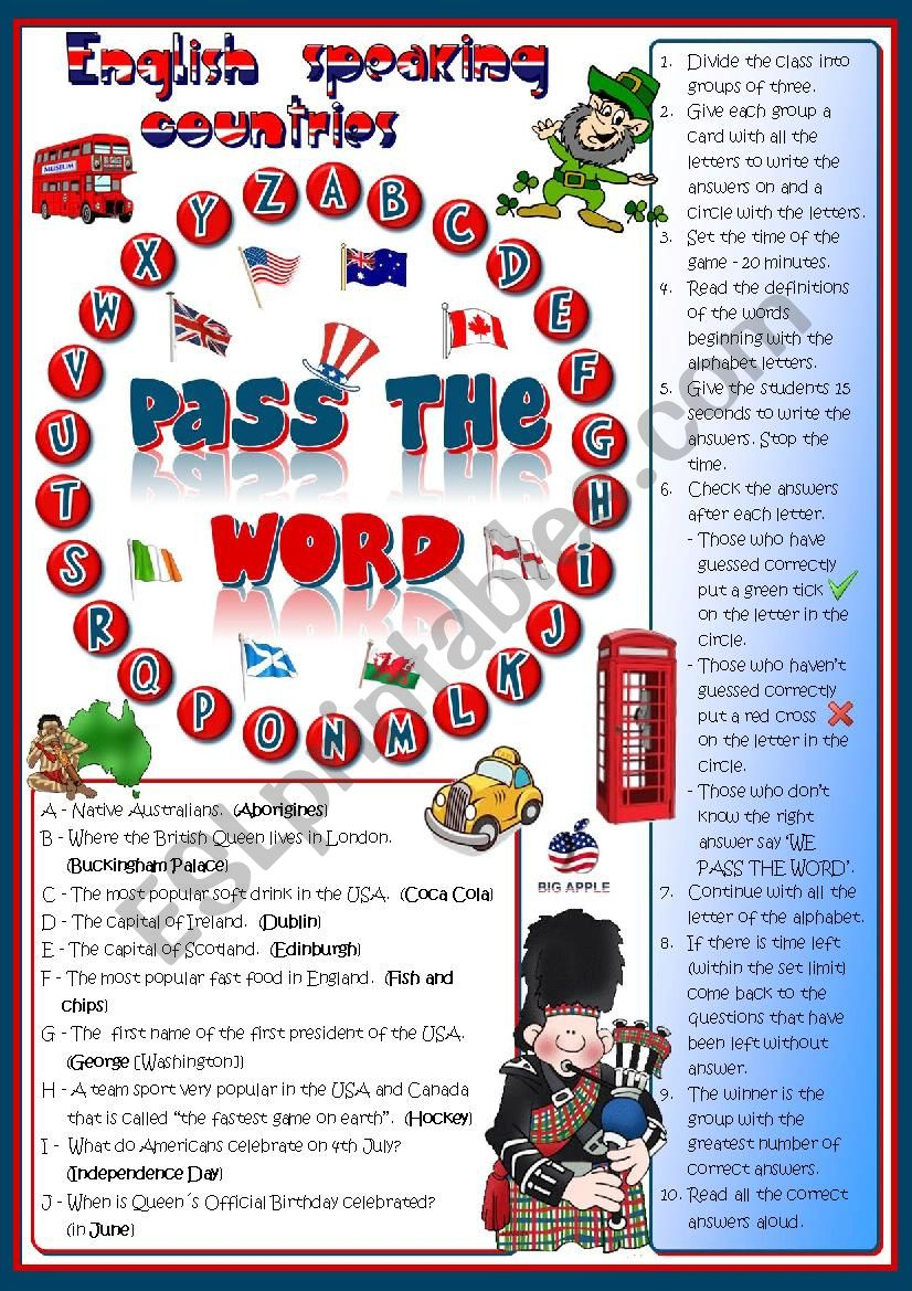 Pass the word - English-speaking countries quiz
