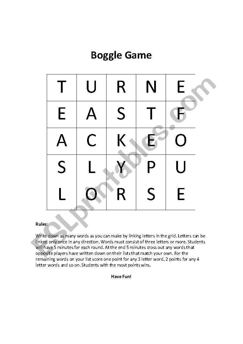 Boggle Style Game - ESL worksheet by LANBO1977