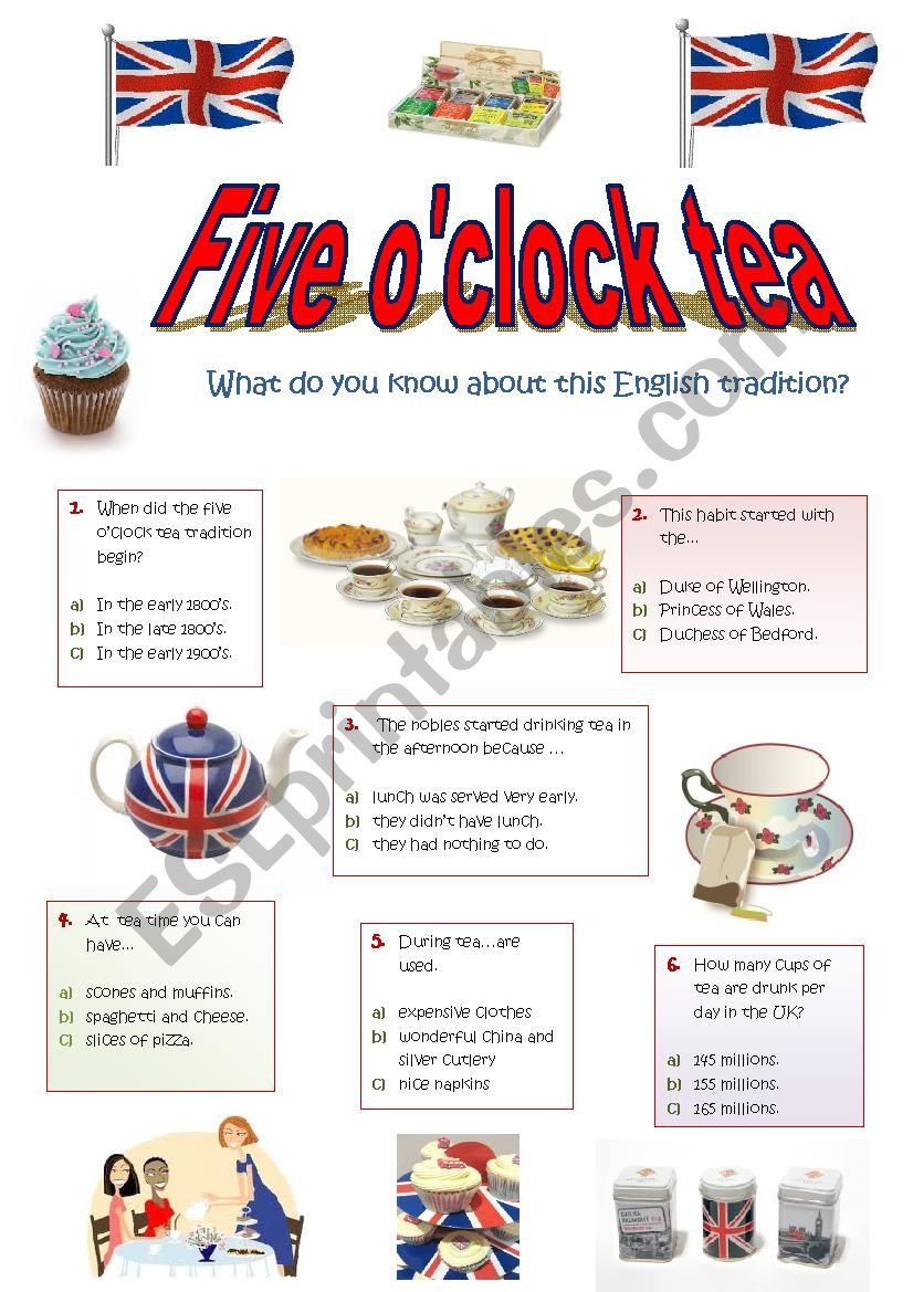 ANYONE FOR TEA? - a quiz on