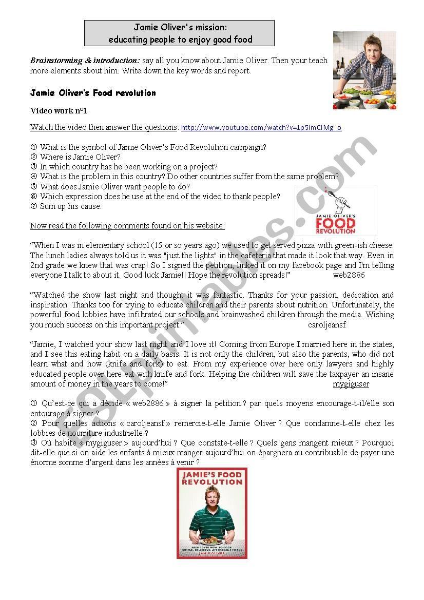Jamie Olivers Food Revolution Campaign Esl Worksheet By