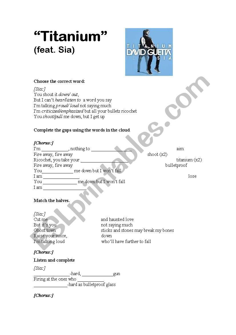 Titanium  David Guetta worksheet