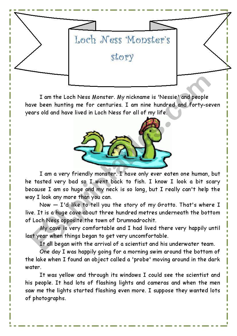 Loch Ness Monster´s Story worksheet