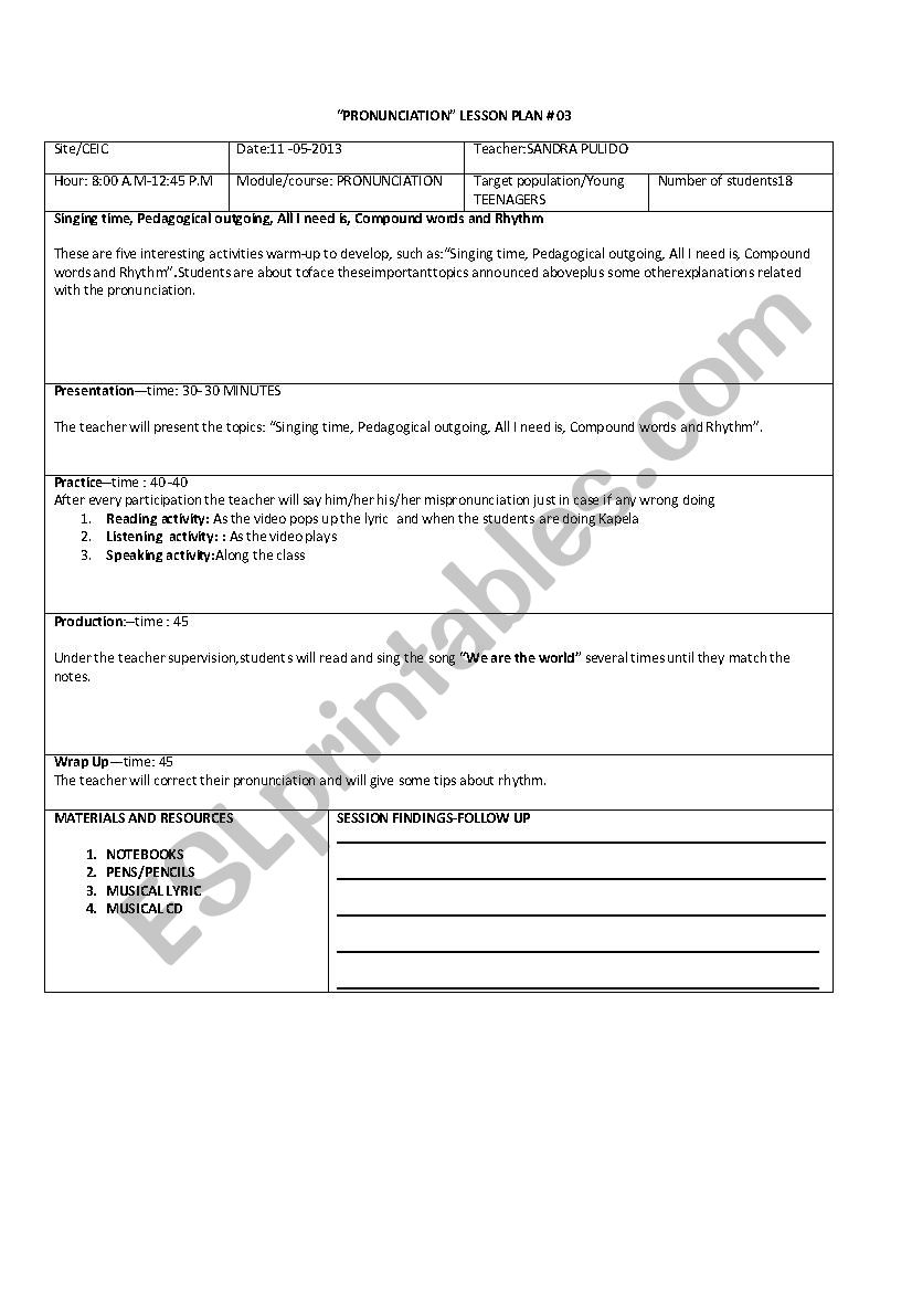 LESSON PLAN TEMPLATE worksheet