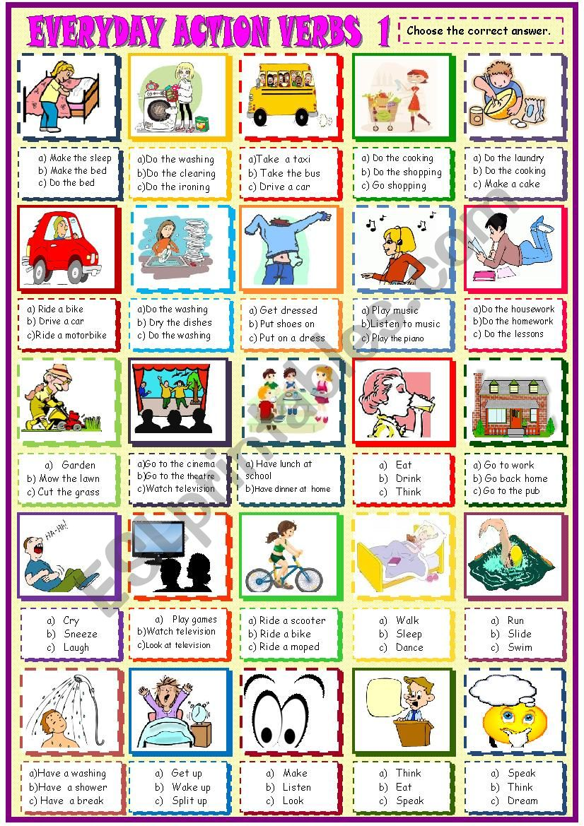 EVERYDAY ACTION VERBS/MULTIPLE CHOICE ACTIVITY