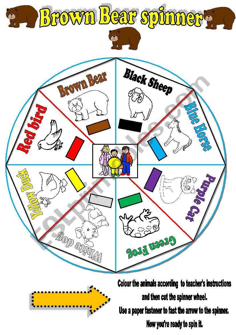 Brown Bear  story -Spinner worksheet