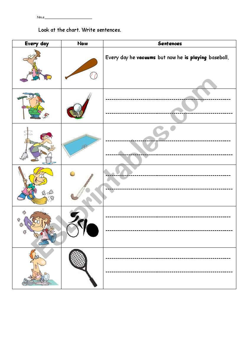 Present Simple & Continuous worksheet