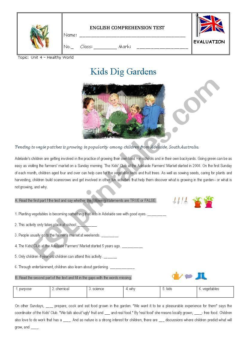Test - Kids dig gardens worksheet
