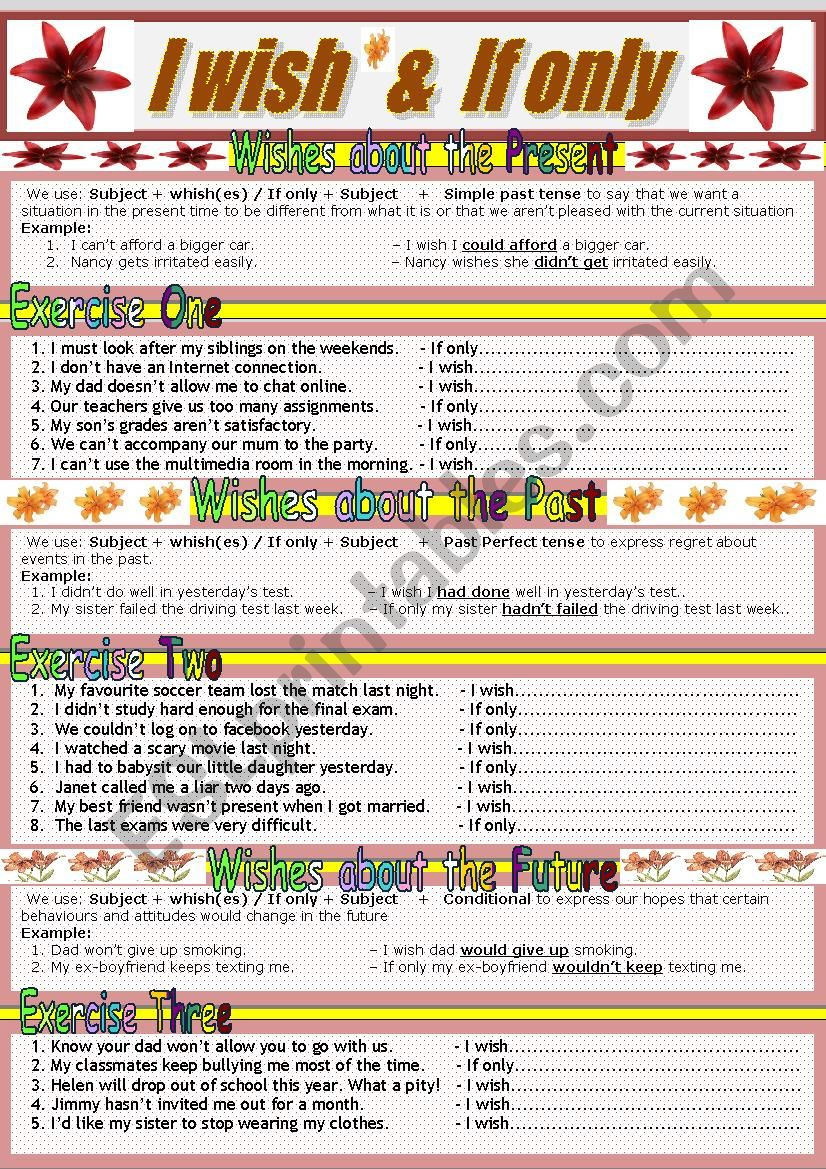 Expressing Wishes worksheet