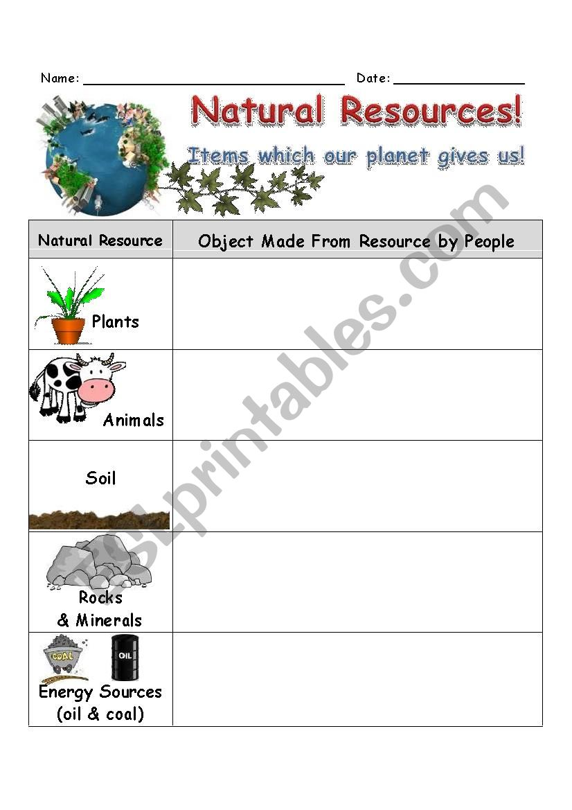 Natural Resources Worksheet - ESL worksheet by SlvrWolf