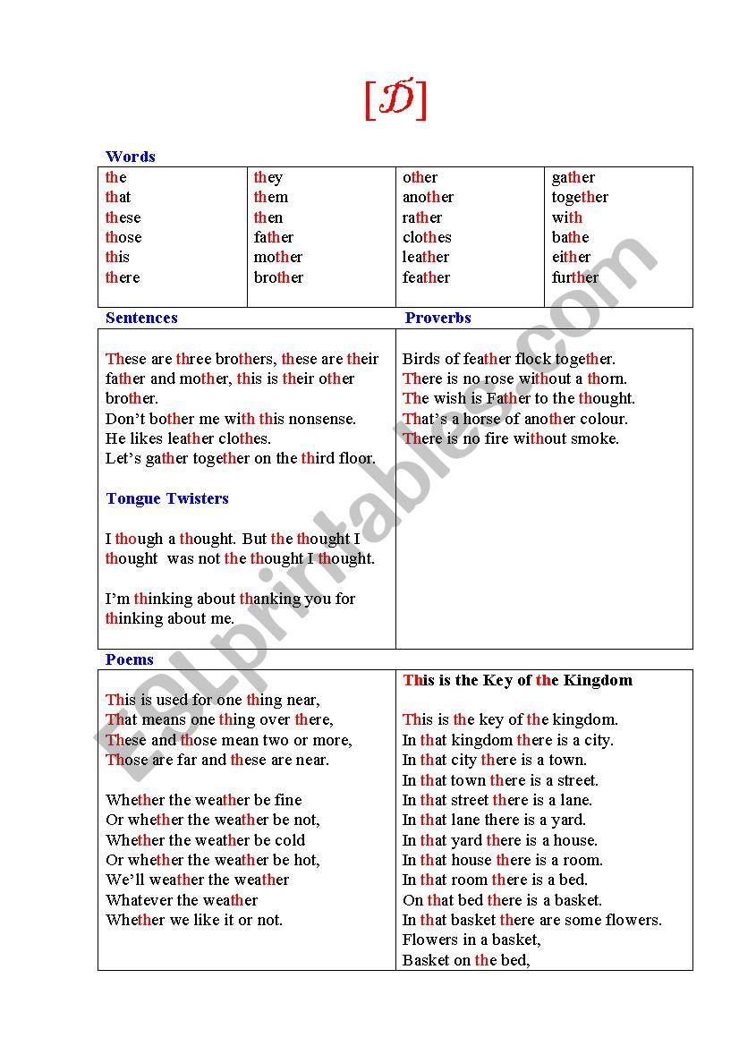 Phonetic Exercises Th Esl Worksheet By Korova Daisy