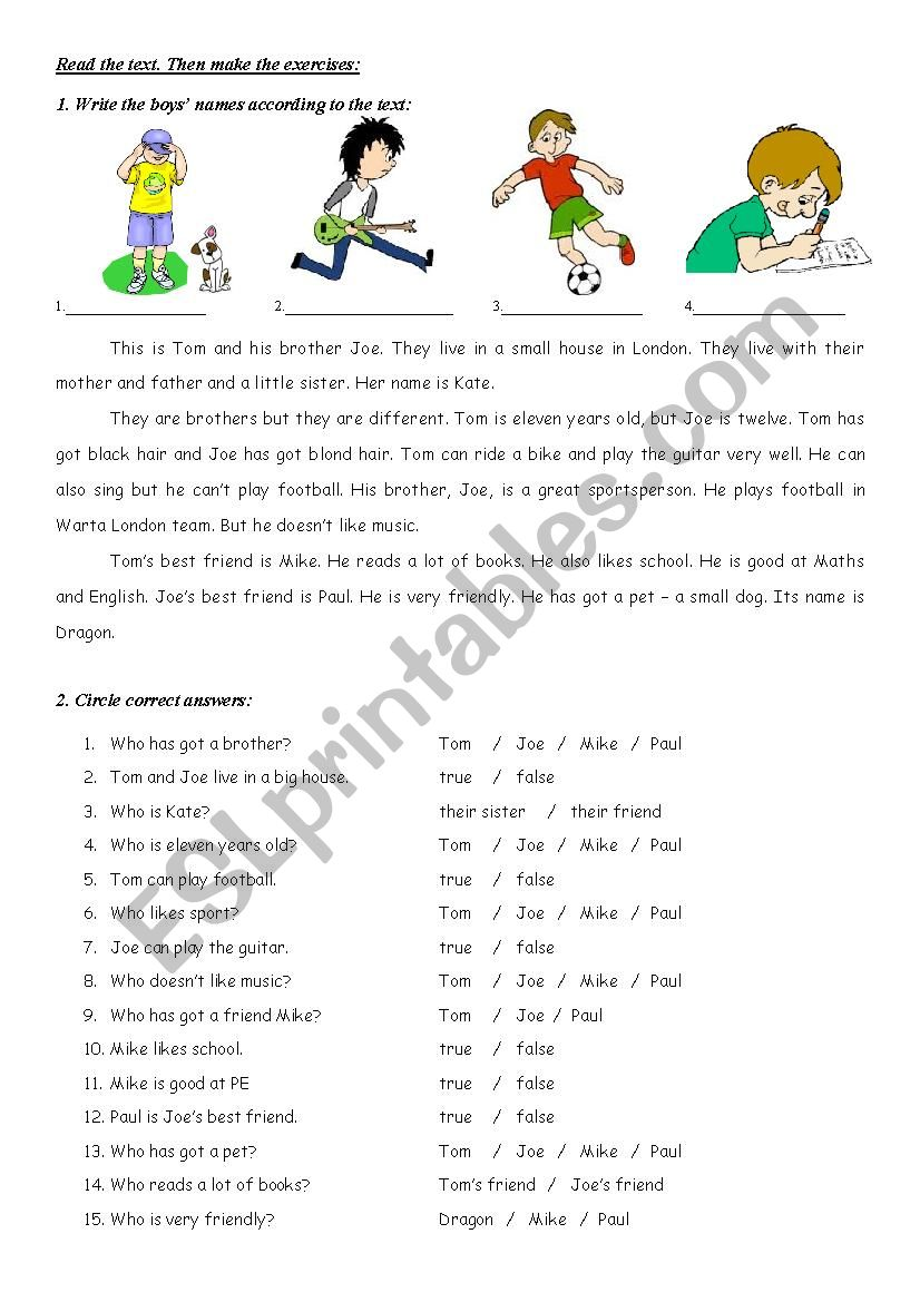Present Simple reading (with answers) - ESL worksheet by