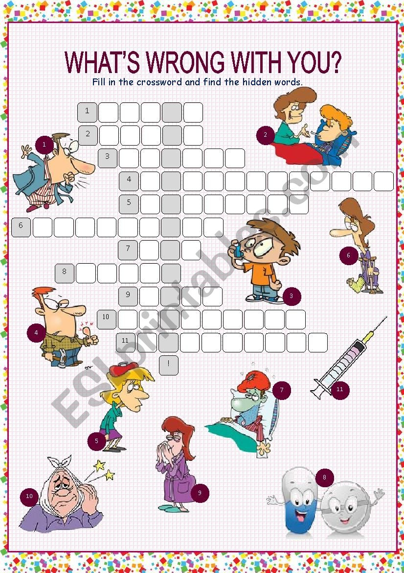 What´s Wrong with You? (Health Problems & Treatments) Crossword Puzzle