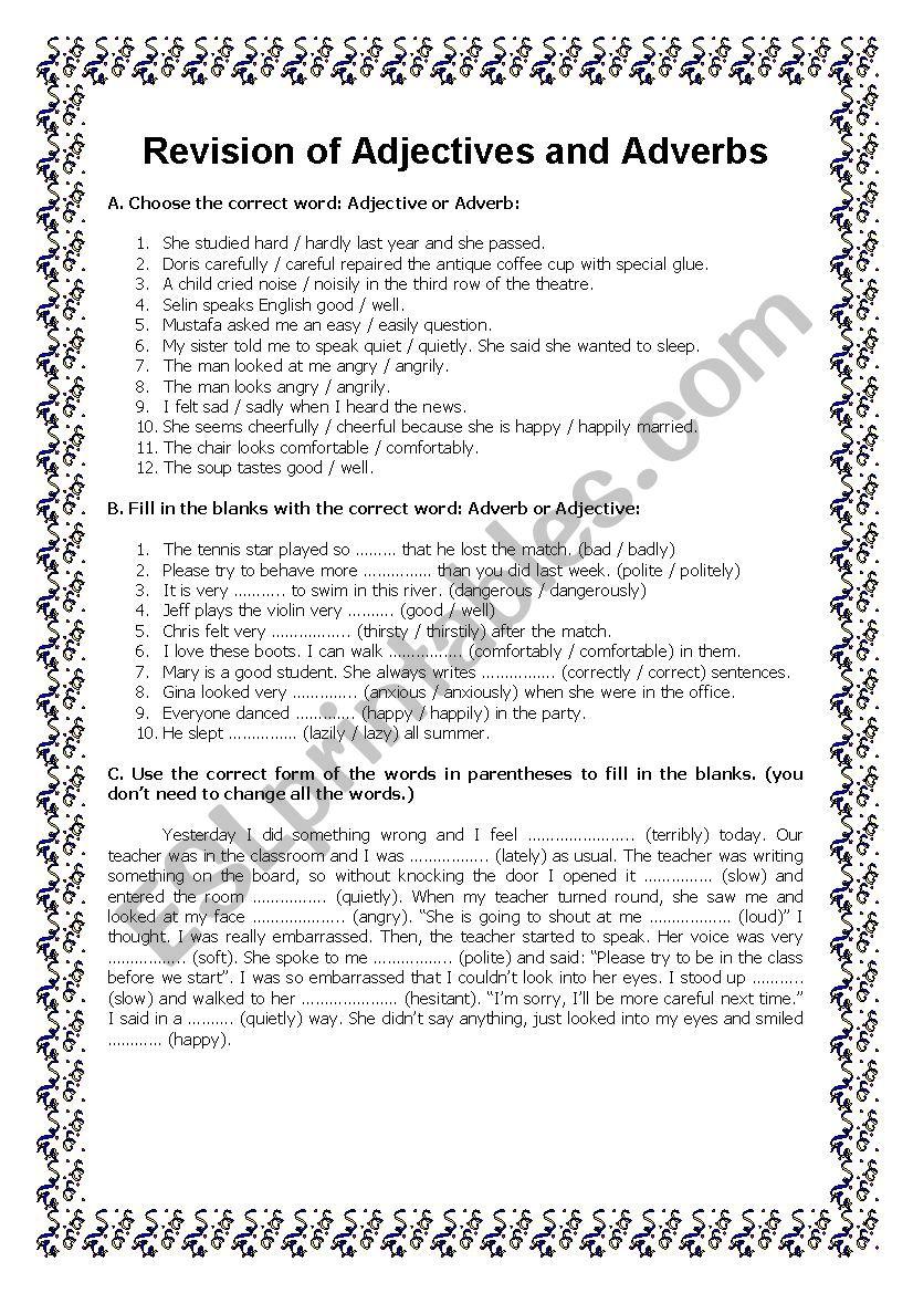 Adjective Or Adverb Esl Worksheet By Ankmadalina