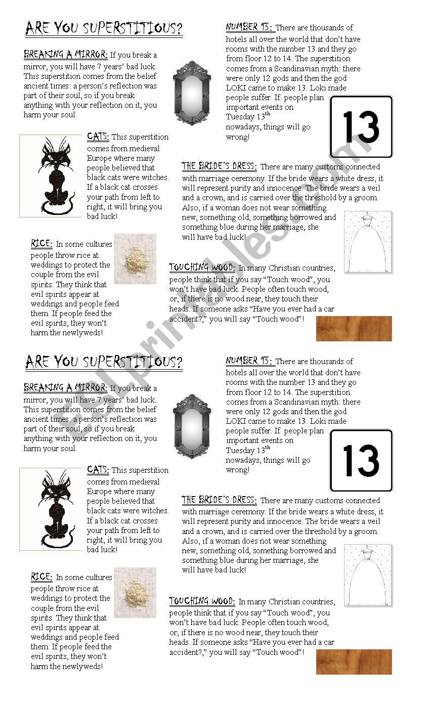Are you superstitious? - ESL worksheet by euja04