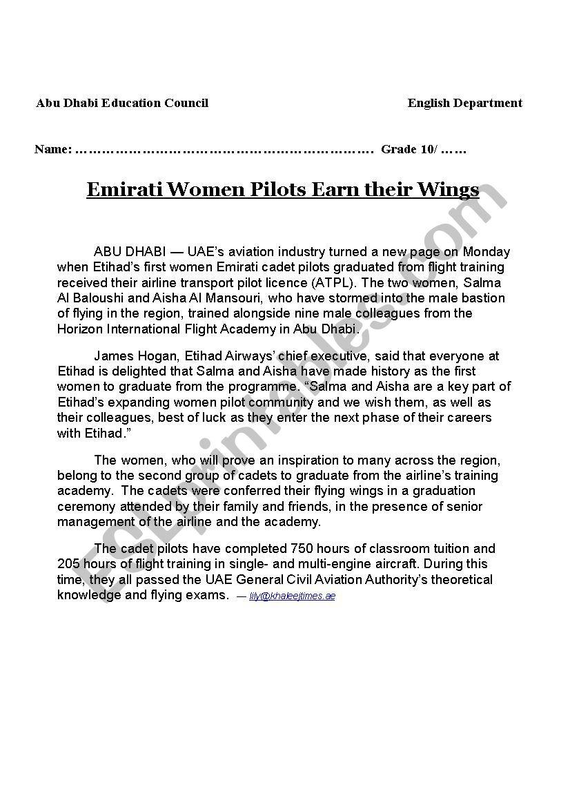 women pilots - ESL worksheet by shoker2013