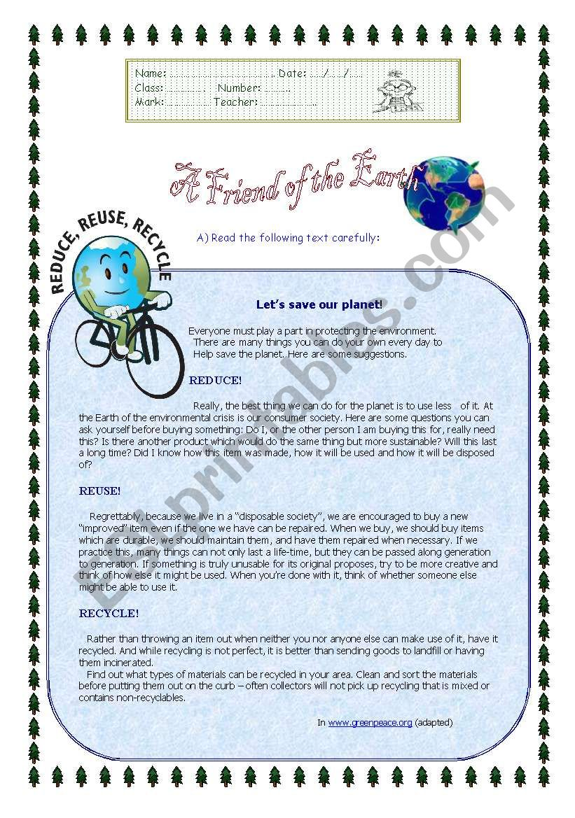 A friend of Earth worksheet
