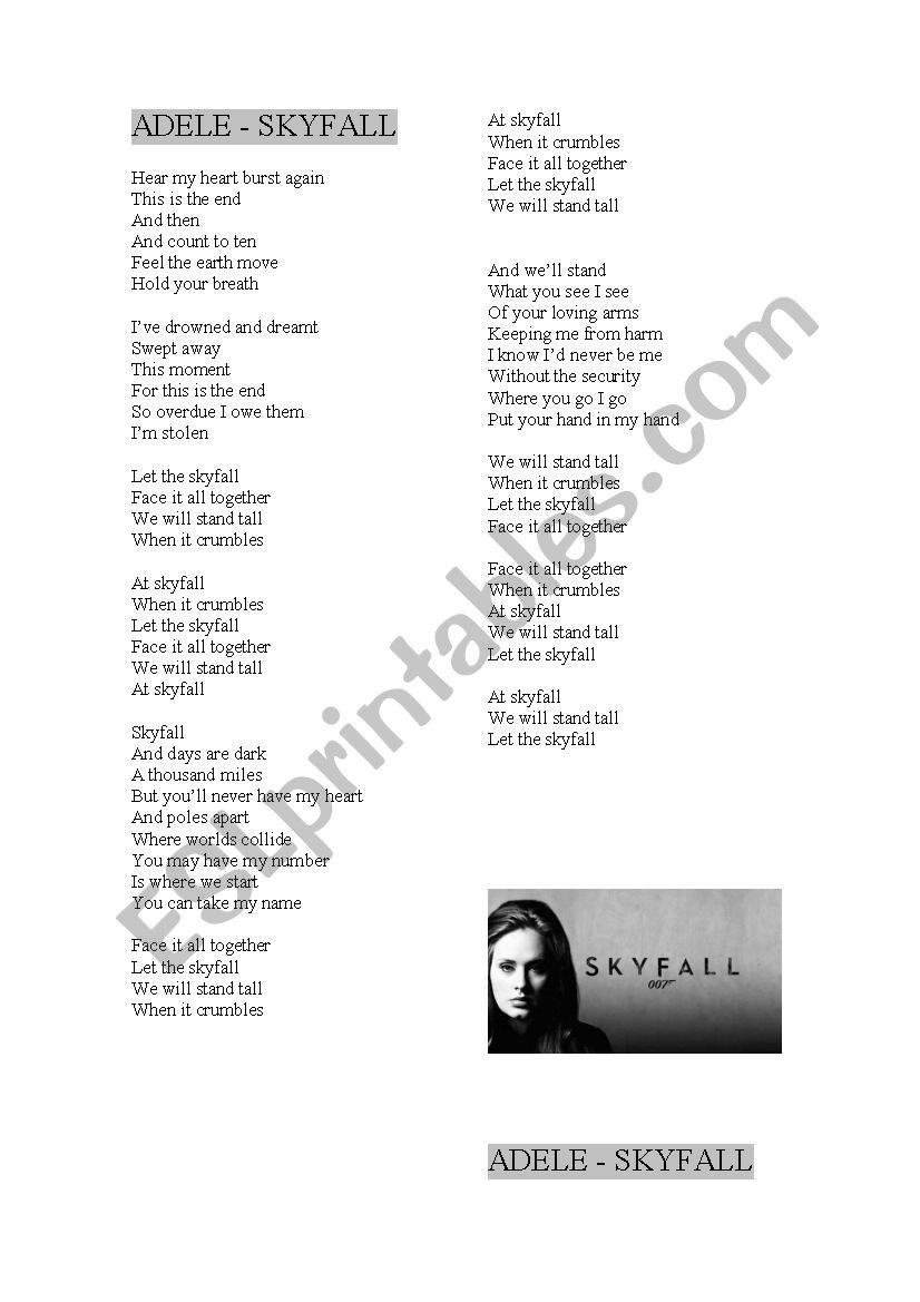 Song - Skyfall, by Adele - ESL worksheet by cris_bv