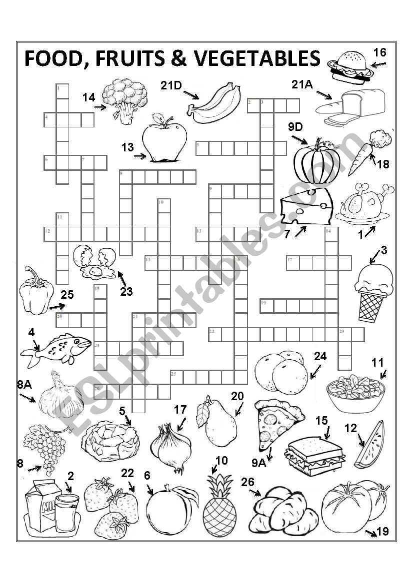 Food Crossword Set I (ANSWER KEY INCLUDED)