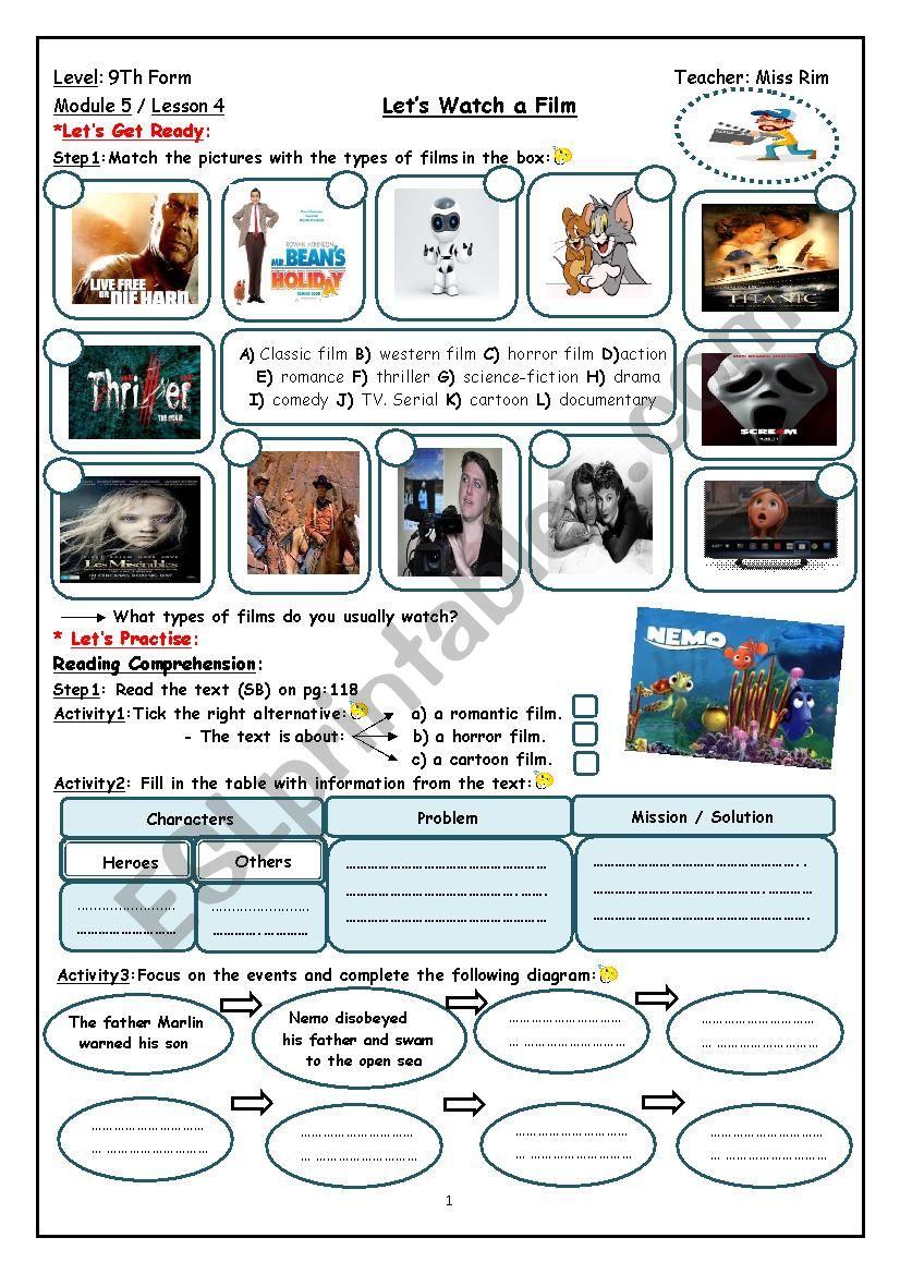 Let´s Watch a Film Worksheet worksheet