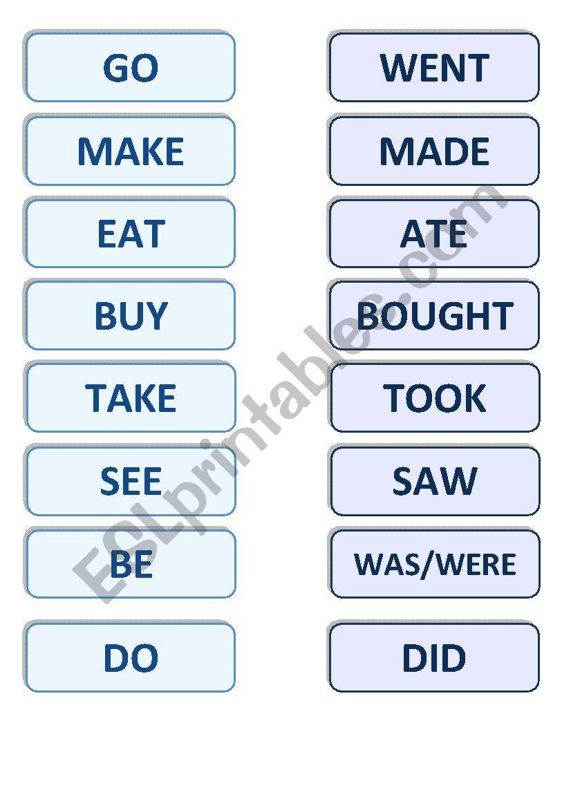 Irregular Verbs Memory Game worksheet