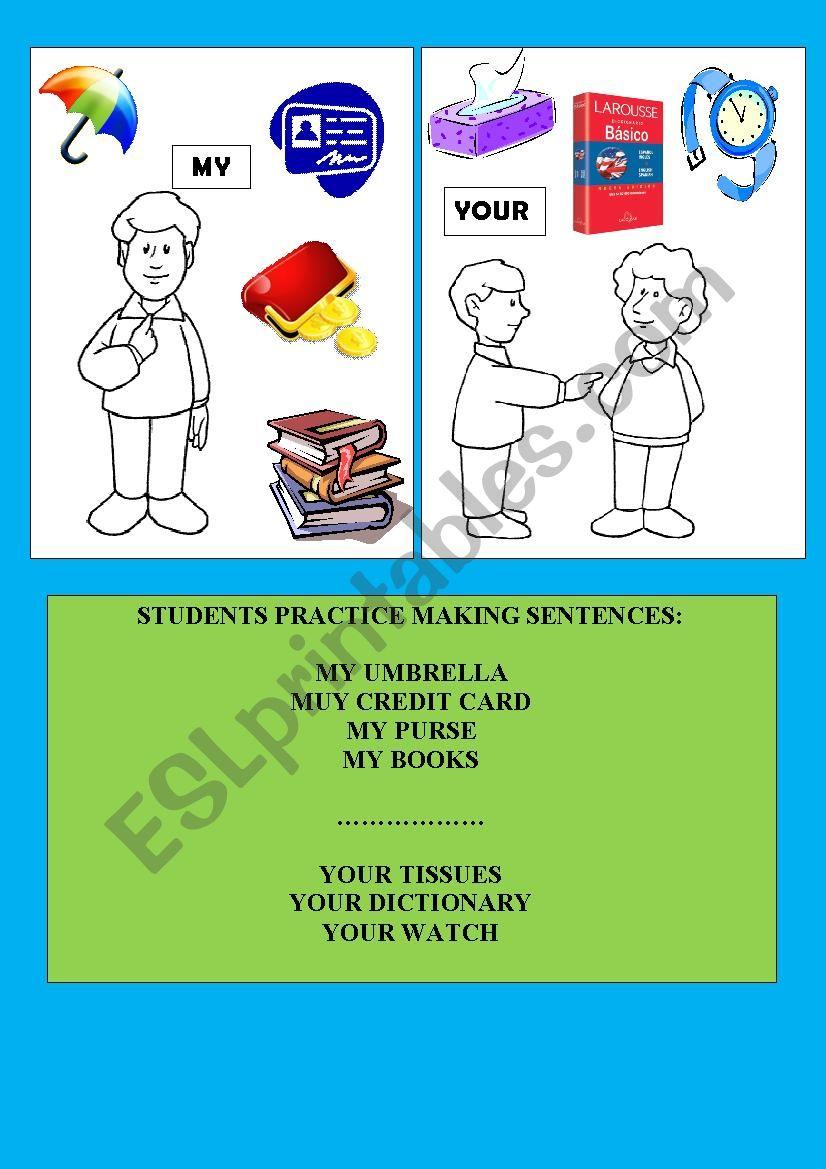 POSSESSIVES + COMMON OBJECTS worksheet