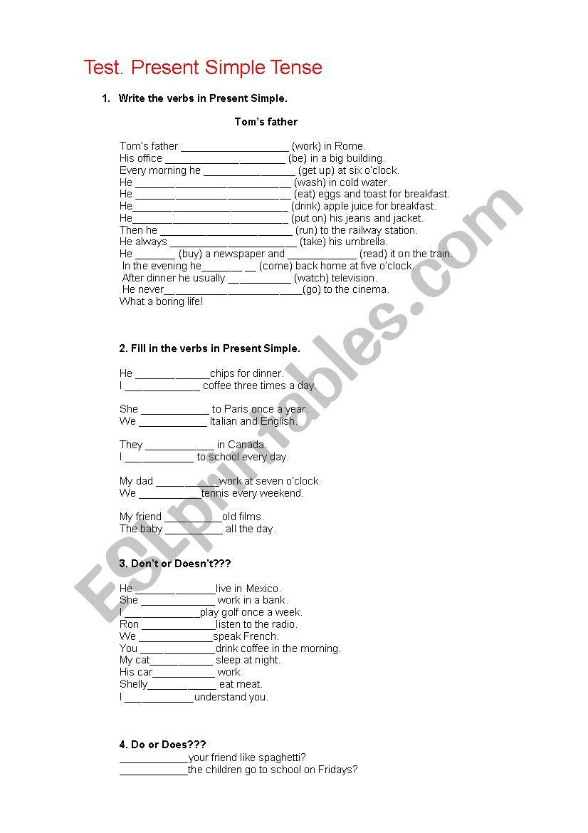 Test. Present Simple Tense worksheet