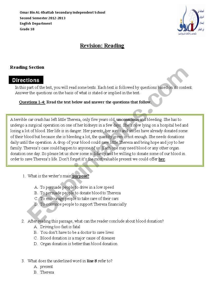 Reading Grade10 worksheet