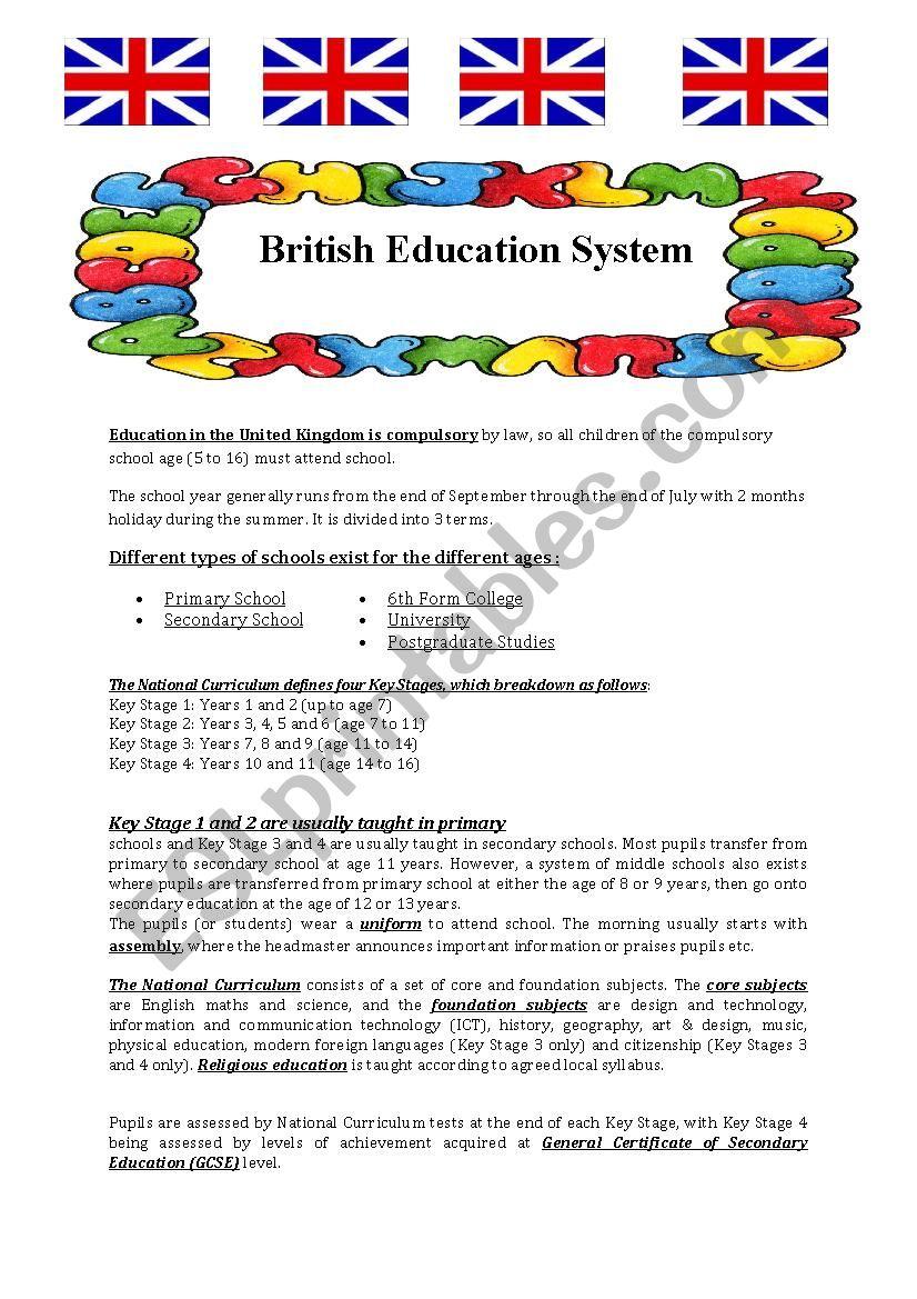 The British Education System worksheet