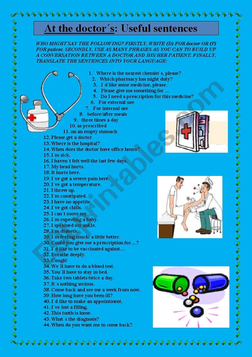 AT THE DOCTOR´S: USEFUL SENTENCES