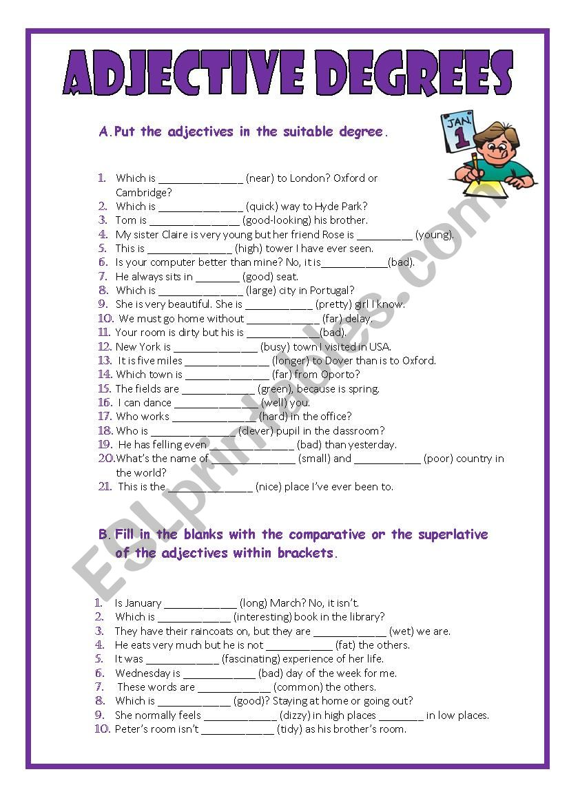 The degrees of the adjectives   ESL worksheet by MMCV