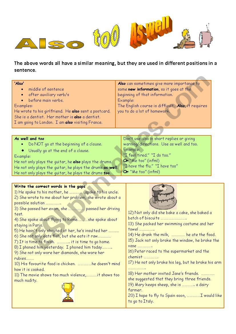 Also, too, as well grammar guide and exercises